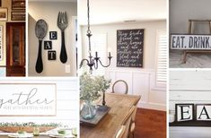 24 Welcoming Kitchen and Dining Room Sign Ideas that Personalize Your Home Farmhouse Style Table, Farmhouse Kitchen Decor, Kitchen Dining, Kitchen Interior, Rustic Winter Decor, Living Room Color Schemes, Chic Living Room, Dining Room Walls, Boys Room Decor