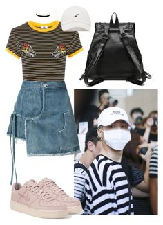 """""""Jimin Inspired Outfit #9"""" by flaviaazevedo2000 ❤ liked on Polyvore featuring NIKE, The Ragged Priest, Sandy Liang, Charlotte Russe, kpop, bts, bias and jimin"""
