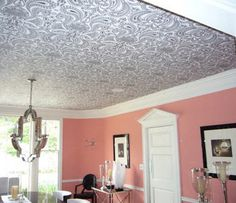 dress up your ceiling with wallpaper...great idea