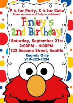 Elmo Second Birthday Invitations Baby 1st Birthday, Boy Birthday Parties, Birthday Ideas, Elmo Birthday Invitations, Party Invitations, Elmo Party, Mickey Party, Dinosaur Party, Dinosaur Birthday