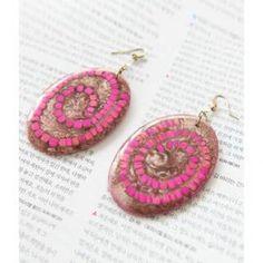 Spiral Disc Drop Earrings Fuchsia - One Size Loose Diamonds For Sale, Sterling Silver Jewelry, Spiral, Crochet Earrings, Drop Earrings, Dangle Earrings, Drop Earring
