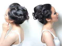 Easy updo; just curl hair and twist back and pin with bobby pins.  Can be done with a grown out bob or longer