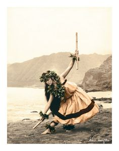 Art Print: Pua with Sticks, Hawaiian Hula Dancer Wall Art by Alan Houghton by Alan Houghton :
