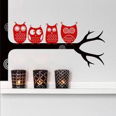 Woodland Tree Owls On A Branch Wall Sticker