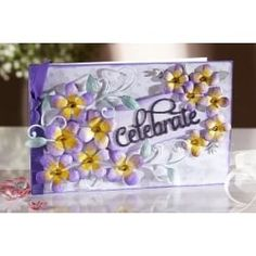 Celebration card made with the Sara Signature English Country Garden collection from Crafter's Companion.