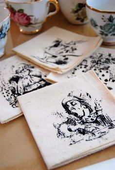 Alice in Wonderland Napkins Tea Time Cocktail Natural by Hellbox, $12.00 - I think Alice images are not copyright because the book is so old
