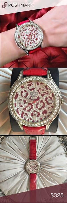 DITA VON TEESE's Chouette Leopard Swarovski watch Purchased directly from the Queen of Burlesque Dita Von Teese herself; this was from her own personal jewelry  collection! Gorgeous super rare Chouette red leopard Swarovski pave' rhinestone watch. Band is red leather. Bling Bling BLING! This is a stunning statement watch! Original price $8,680HK which equated to over $1100 and that doesn't take into consideration that Dita purchased & wore it! Comes with signed postcard she included with…