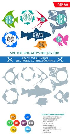 Fish SVG Monogram Frames Cut Files - SVG DXF Silhouette Studio Png Eps Pdf Jpg Ai Cdr cuttable for Silhouette Studio, Cricut, Cameo