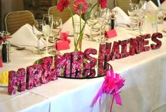 Mr and Mrs ? .... DIY craft wedding decor idea (3d letters hand decorated in wedding theme colours using papier mache shapes, Decopatch paper and glue).