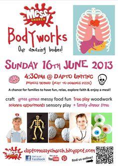"Dapto Messy Church 'Bodyworks: Our Amazing Bodies"" invite - Body of Christ /The Church theme (June 2013)"