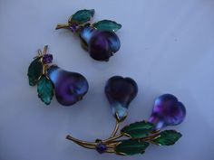 Austria Frosted Glass Purple Pear Fruit Brooch Pin and Earrings