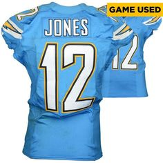 Jacoby Jones San Diego Chargers Fanatics Authentic Game Used Powder Blue #12 Jersey from Week 7 vs Oakland Raiders on October 25, 2015 - $519.99