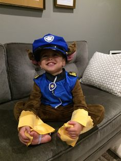 hes on a roll in this paw patrol chase costume toddler boys chase costume includes a jumpsuit with puppy tail police hat with dog ears and paw patrol