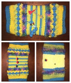 Sensory mitts twiddle muffs. For sufferers of dementia and Alzheimer's the centre was made on the addi King. The out side crocheted then adding things to fiddle with to enhance the sensors.