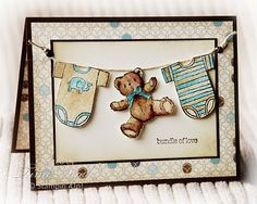 Baby Bear Card...with a clothesline...too cute! Ineed to find this stamp set should have gotten it when i could