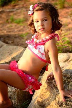 Ella Teeny Weeny Bikini and Lil' Side by TurtleSoupCompany Soup Company, Turtle Soup, Swimsuits, Bikinis, Swimwear, Ruffle Swimsuit, Eyelet Lace, Swim Bottoms, Ribbon Bows