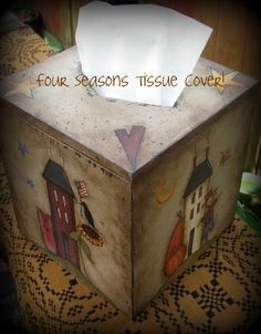 E PATTERN - 4 Seasons Tissue Box Cover - Design by Terrye French - Painted by Me. $5.00, via Etsy.