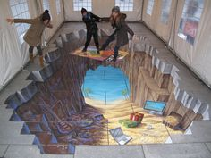 Would you dare walk on this? Unbelievable 3D Street Painting Photos Pavement Chalk