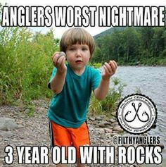 If its not rocks its anything they can get their hands on. This is probably one of the only times I dislikes kids lol. Thank God for boats!