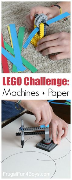 LEGO Building Challenge: Machines + Paper Here are two fun LEGO machines to build – a paper crimper and a circle drawing device! Challenge kids to build these designs or invent their own. This is a great project for a LEGO club! What other machines can y Stem Projects, Projects For Kids, Crafts For Kids, Project Ideas, Reading Projects, Art Projects, Lego For Kids, Science For Kids, Science Penguin