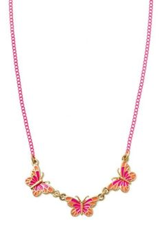 Girls' Pink & Orange Butterfly Necklace | Mariposa Necklace