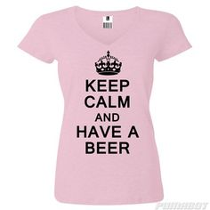 Women's M Pale Pink Keep Calm and Have a Beer cotton v-neck shirt by PumaBot
