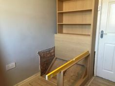 Build Over Stairs Bulkhead In Progress Bedroom Closet Bulkhead Bedroom, Stairs Bulkhead, Box Room Beds, Box Room Bedroom Ideas, Nursery Ideas, Stair Box In Bedroom, Closet Bedroom, Over Stairs Storage, Stair Storage