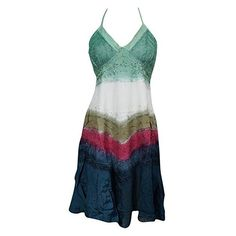Mogul Interior Beach Dress Embroidered Halter Neck Colorful Tie-Dye... ($36) ❤ liked on Polyvore featuring dresses, tie-dye dresses, sundress dresses, halter dress, embroidery dresses and halter sundress