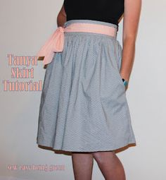 sew easy being green: Sewing for ME: The Tanya Skirt Tutorial.  Gathered skirt with fixed waist band, optional pockets and zipper (made easy!)