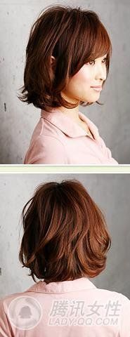 Chin length light brown side parted bob hairstyle with slight body wave perm at hair ends. Side and back.
