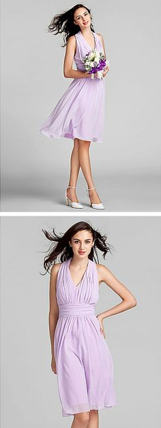 Halter ruched bodice above-the-knee chiffon bridesmaid dress. This lovely bridesmaid dress is affordable, flattering and comfortable. Check, check, check. Everything your bridesmaids could want! Get it in lavender, lilac, regency, ruby, silver, navy, candy pink, blushing pink, white, ivory or black.