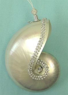 Beach Ornament - Pearl Nautilus with Crystals