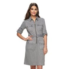 Women's Sharagano Houndstooth Roll-Tab Shirtdress, Size: 16, Black