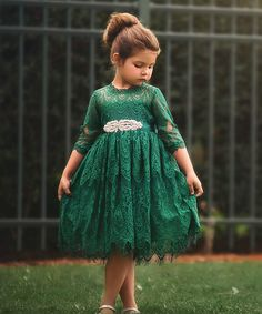 Take a look at this Emerald Lace Bella Rafaella Dress - Infant, Toddler & Girls today!