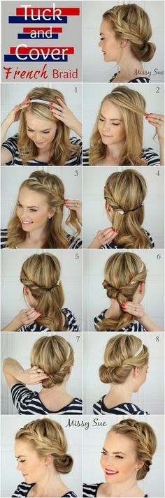 Tuck and Cover French Braid - this looks impossibly difficult... but maybe there's hope - Hair style