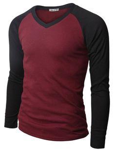 Mens Casual Long Sleeve Raglan Baseball V-neck T-Shirt #doublju