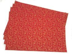 """Amazon.com: Unique & Custom {12"""" x 18"""" Inch} Set Pack of 4 Rectangle """"Non-Slip Grip Texture"""" Large Table Placemat Made of Washable Flexible Cotton w/ Festive Shiny Swirl Design [Colorful Red & Orange]: Kitchen & Dining"""