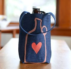 Growler Bag, Screen Printed Denim Tote, Beer Love, Ready to Ship by stripeycity on Etsy https://www.etsy.com/listing/215673763/growler-bag-screen-printed-denim-tote