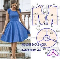 ✂ VESTIDO PANOS FÁCIL- 80 - Moldes Moda por Medida   /   ✂ PANOS DRESS easy- 80 - Molds Fashion by Measure -