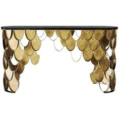 Brushed Brass And Black Marble Koi Console Form Europe (12'805 CHF) ❤ liked on Polyvore featuring black and console tables