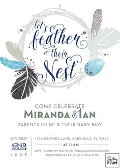 Couples Baby Shower Invitation / Twin Baby by LuckyPlumStudio