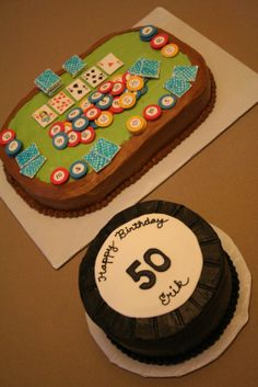 The poker table cake has two layers of cake and one layer of filling. All of the poker chips and cards are handmade out of fondant. Poker Cake, Retirement Cakes, Poker Party, Cupcake Cakes, Cupcake Ideas, Cupcakes, Poker Chips, Cakes And More, Birthday Parties
