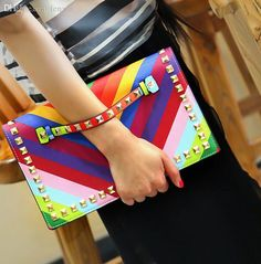 Wholesale Fashion Rainbow Envelope Clutch Bag Women Wristlets Leather Bags Colorful Small Shoulder Bag Handbag Cheap Purses Handbags For Women From Fenxin, $29.21| Dhgate.Com