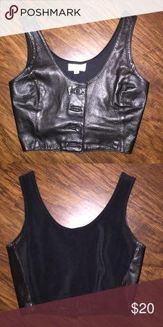 Leather Cropped Vest Black leather cropped vest. Button up. Henry Bendel NY  Tops