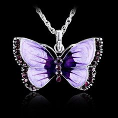 NEW Womens Butterfly Purple Crystal Rhinestone Silver Chain Pendant Necklace ~!!