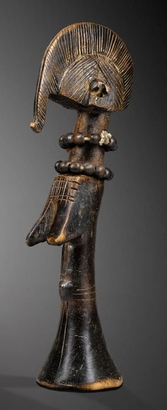 Africa | Doll from the Mossi people of Burkina Faso | Wood, with two wood bead and fiber necklaces