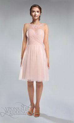 Blush Pink Lace and Tulle Strapless Boat Neck Bridesmaid Dress DVW0190 | VPonsale Wedding Custom Dresses
