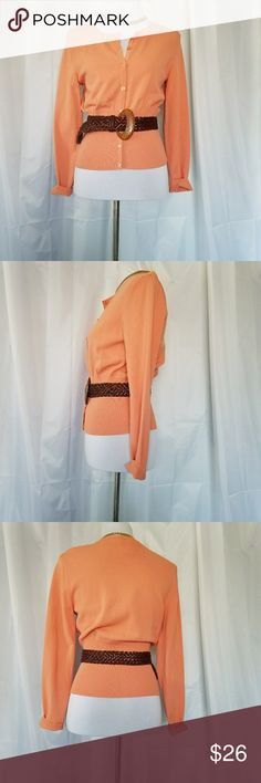 TALBOTS ORANGE PEACH CAREER CARDIGAN.S TALBOTS PEACH ORANGE CAREER CARDIGAN Size Small. This gorgeous SWEATER is cinched at the waist and has tiny delicate buttons trimming the front.  Can be worn cuffed or uncuffed. Belt is not included. In excellent condition. Talbots Sweaters Cardigans