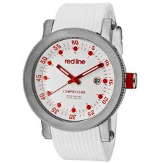 red line Men's RL-18000-02RD-WHT-ST Compressor White Dial Silicone Watch by red line -- Awesome products selected by Anna Churchill