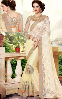 Marvelous Off White and Cream Color Party Wear Saree